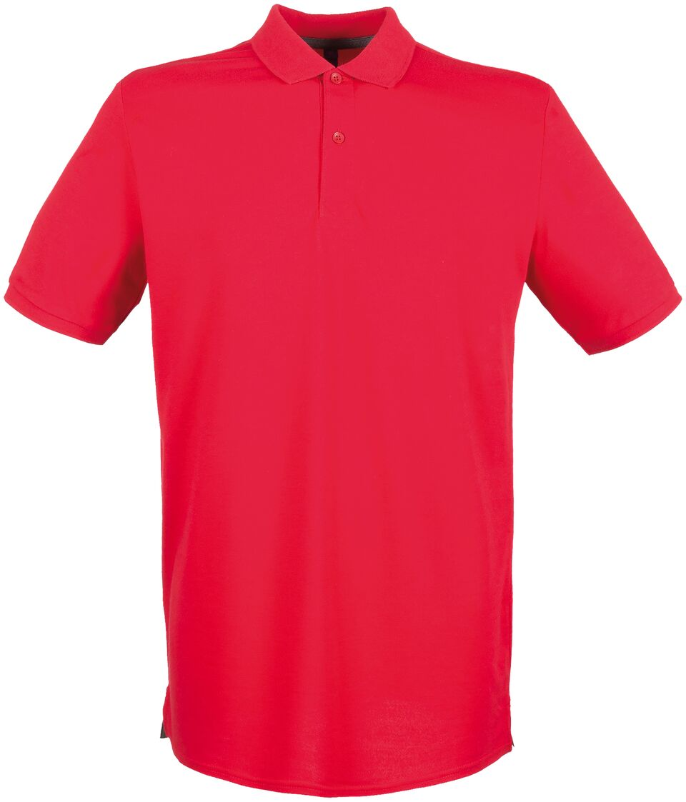 Henbury Mens Contrast Tipped Pique Short Sleeve Polo Shirt Navy//Red
